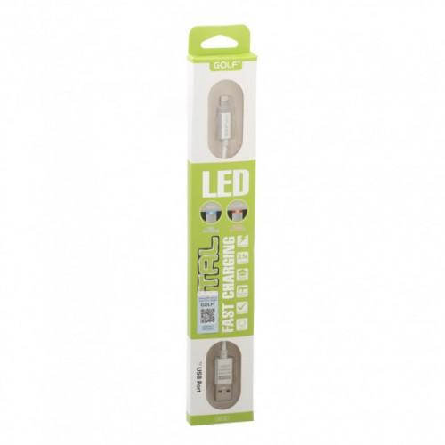 Кабель Lightning Golf Diamond GC-12i LED metal Iphone